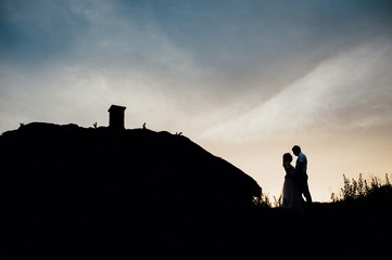 Couple lover holiday happy silhouette sky sunset