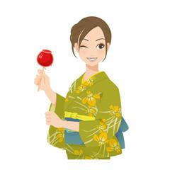 がんばるオンナノコ 浴衣+リンゴ飴