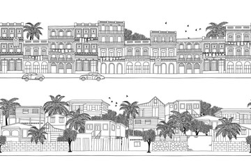 Two hand drawn seamless banners with Caribbean homes - Cuban houses and a little village in Trinidad & Tobago