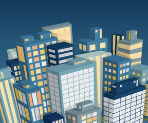 Night city landscape. Isometric view. Cartoon vector illustration
