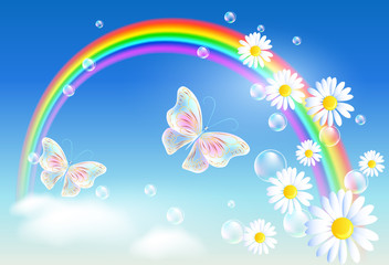 Rainbow  with magic butterflies and diasy