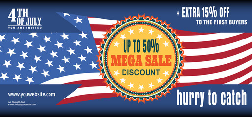 Vector illustration of Idependence Day mega sale banner. Banner of Independence Day megasale.