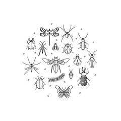 Cute bugs and insects circle design element made in vector.