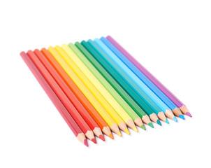 Multiple colorful color pencils composition