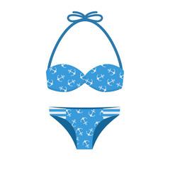 Girl Bathing Suit Vector Illustration