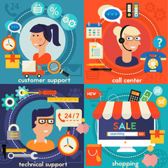 Online Shopping, Customer and Technical Support Call Center Concept