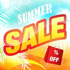 Summer sale banner background vector.