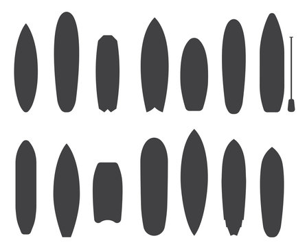 Surfboard Types Outline Icons