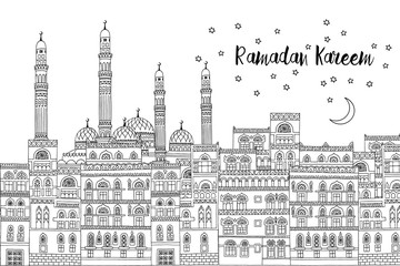 Ramadan Kareem card template in black and white, with arabesque houses and mosque