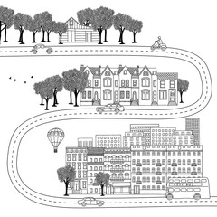 Hand drawn illustration of different lifestyles - village, town and big city