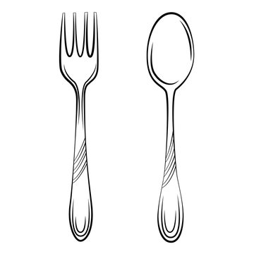 spoon and fork sketch illustration. simple design elements line style