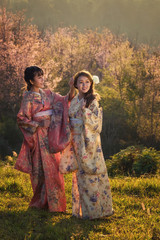Young women wearing a kimono in Japanese culture.