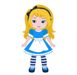 Illustration of Beautiful Alice from Wonderland. Vector illustration.