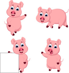 collection Cute pig cartoon