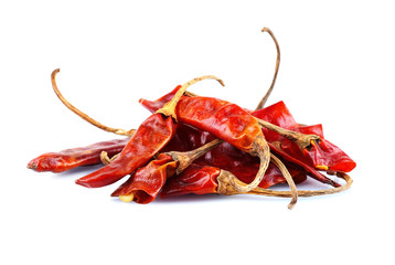 Dried whole chili pepper isolated on white