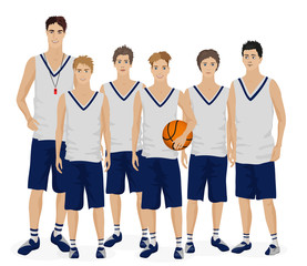 Young guys school basketball team with coach trainer. Vector illustration