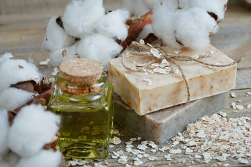 Natural handmade soap, oat flakes, aromatic oil and cotton branc