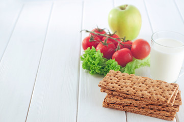 Healthy food concept of breakfast with crispbreads