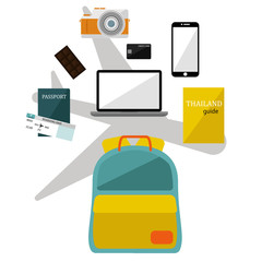 Collection of Backpack  supplies set for traveling.  vector/ Illustration