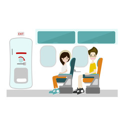 Passenger sitting at window seat and Emergency Door on Flight  vector/ Illustration