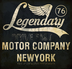 Motorcycle racing legendary typography, t-shirt graphics, vector
