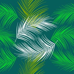 Leaves of palm tree. Tropical leaves. Seamless pattern. Vector background