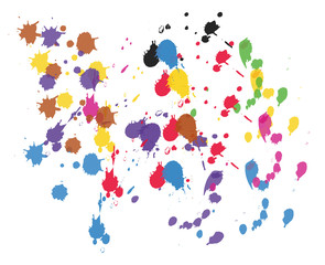 Divers couleurs - taches - pinceaux - peinture - encre - vecteur