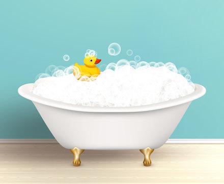 Bathtub With Foam Poster