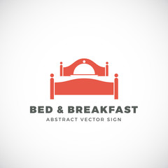 Bed and Breakfast Abstract Vector Sign. Dish Cover Negative Space Symbol Incorporated in Sleep Icon.