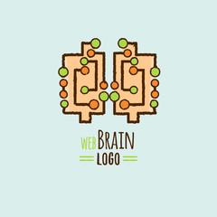 Brain tech Tree creative logo logo concept for education, art studio, kids.