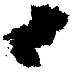 Pays de la Loire black map on white background vector
