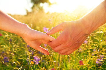 Couple taking hands and walking on the meadow field with wild flowers