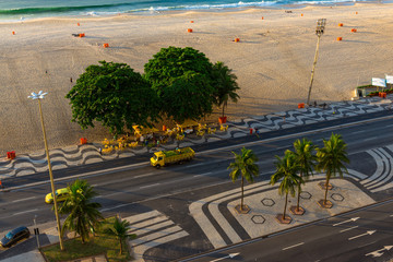 Morninig view of Copacabana beach and Avenida Atlantica in Rio de Janeiro, Brazil