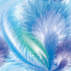 Blue Feathers Seamless Pattern