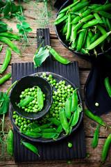 fresh, organic green peas