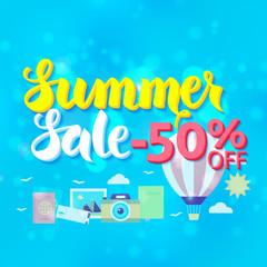 Summer Sale 50 Off Lettering over Blue Blurred Background