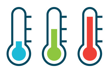 Vector illustration of three different thermometer shows of the