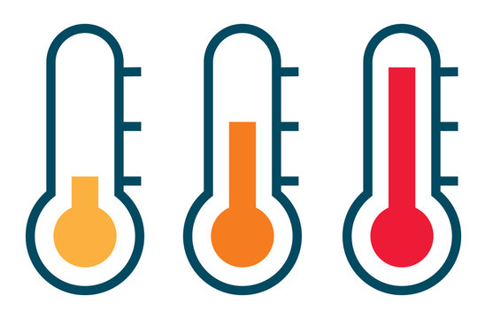 Three vector thermometer showing the temperature from warm to ve