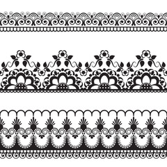 border pattern line lace elements with flowers in Indian mehndi style for card and tattoo isolated on white background.