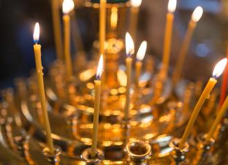 candles burning in orthodox church