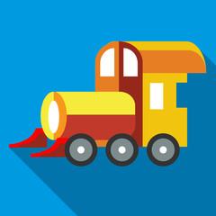 Yellow toy train icon, flat style