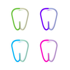 Isolated colorful tooth contour vector logo set. Tooth hygiene logotype collection on the white background. Dental implants icons group. Caries treatment sign.