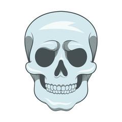 Skull icon, cartoon style
