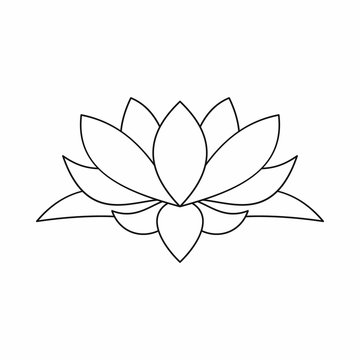 Lotus flower icon, outline style