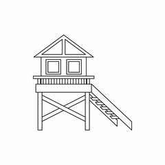 Wooden stilt house icon, outline style