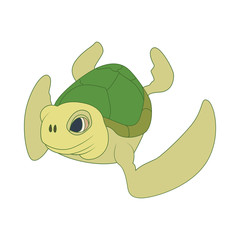 Sea turtle icon, cartoon style