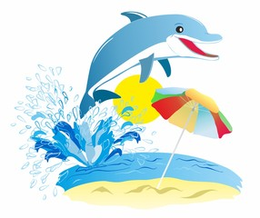 Holiday themed ,Dolphin summer, holiday