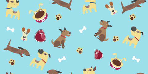 Pattern with dogs of different breeds. dachshund, Fox Terrier, Doberman