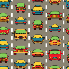 Vector seamless pattern transportation cars