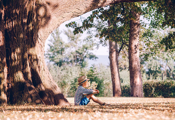 Boy with book sits under big tree in golden summer afternoon